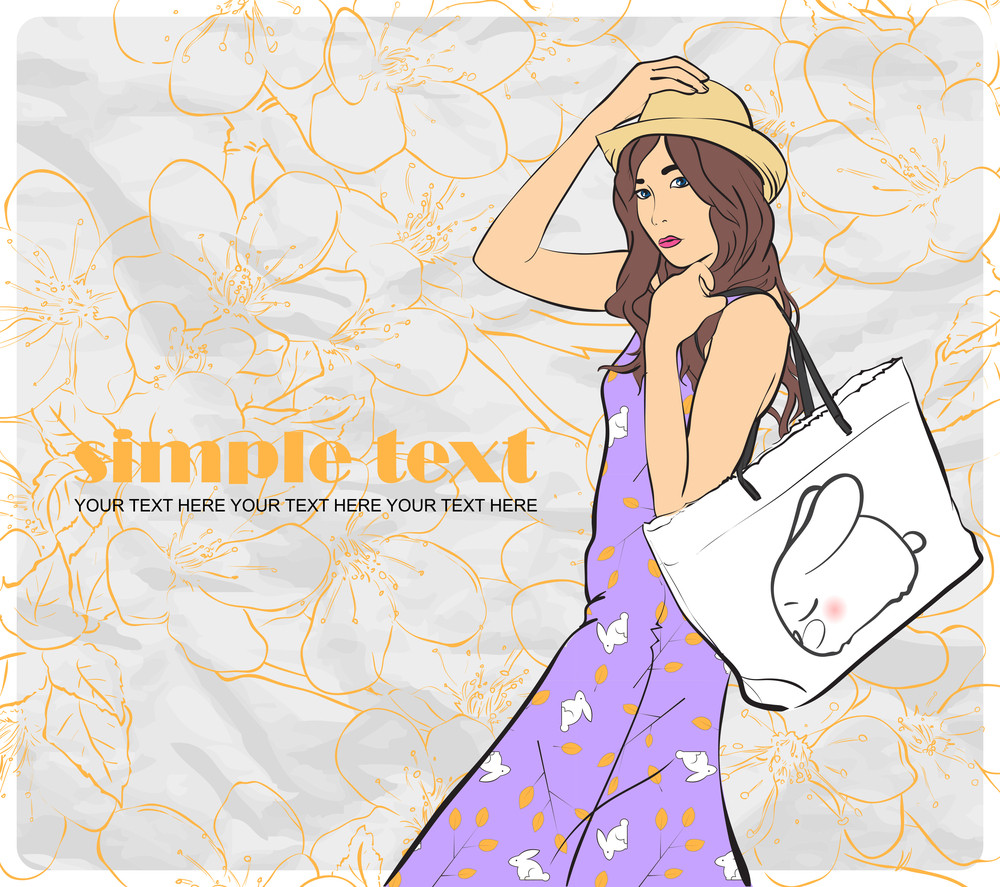 Fashion Girl In Sketch-style On A Floral Background .vector Illustration.