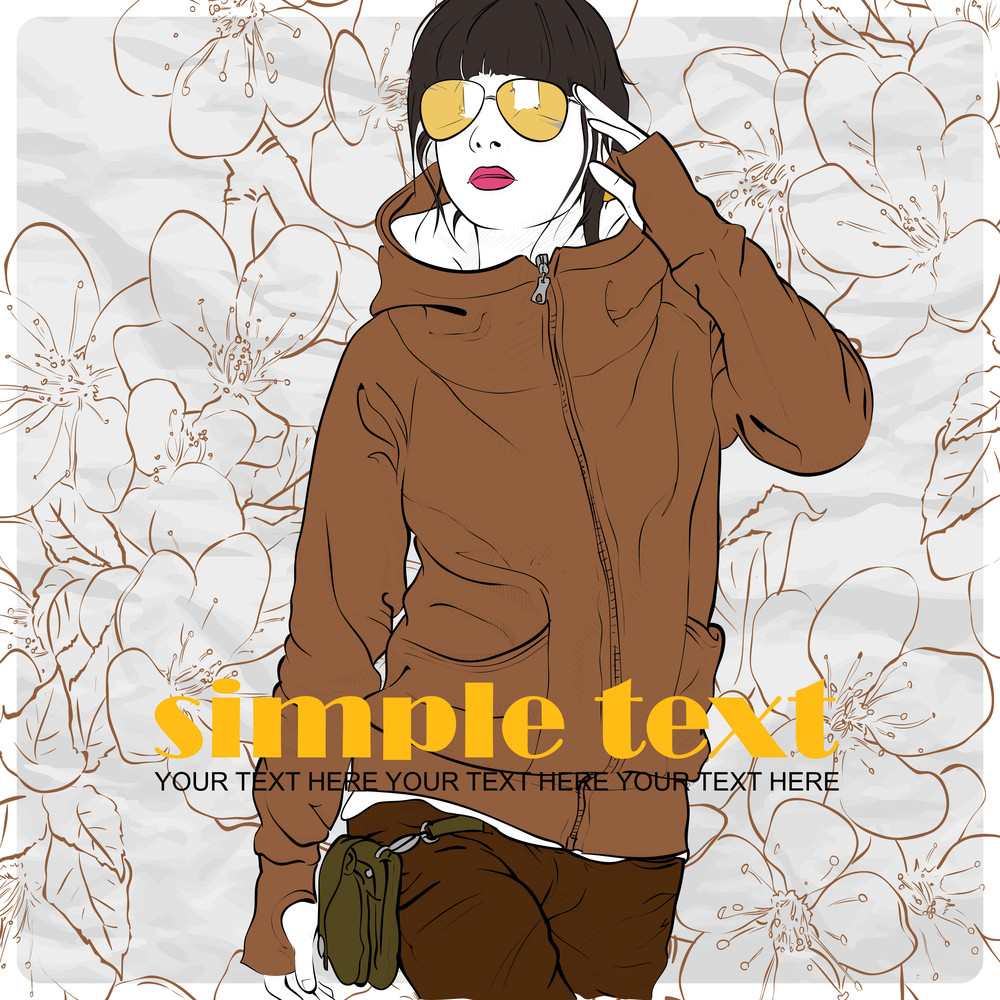 Fashion Girl  In Sketch-style On A Floral-background .vector Illustration.