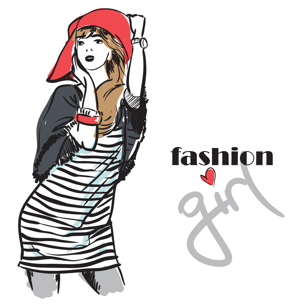 Fashion Girl In Sketch-style. Vector Illustration.