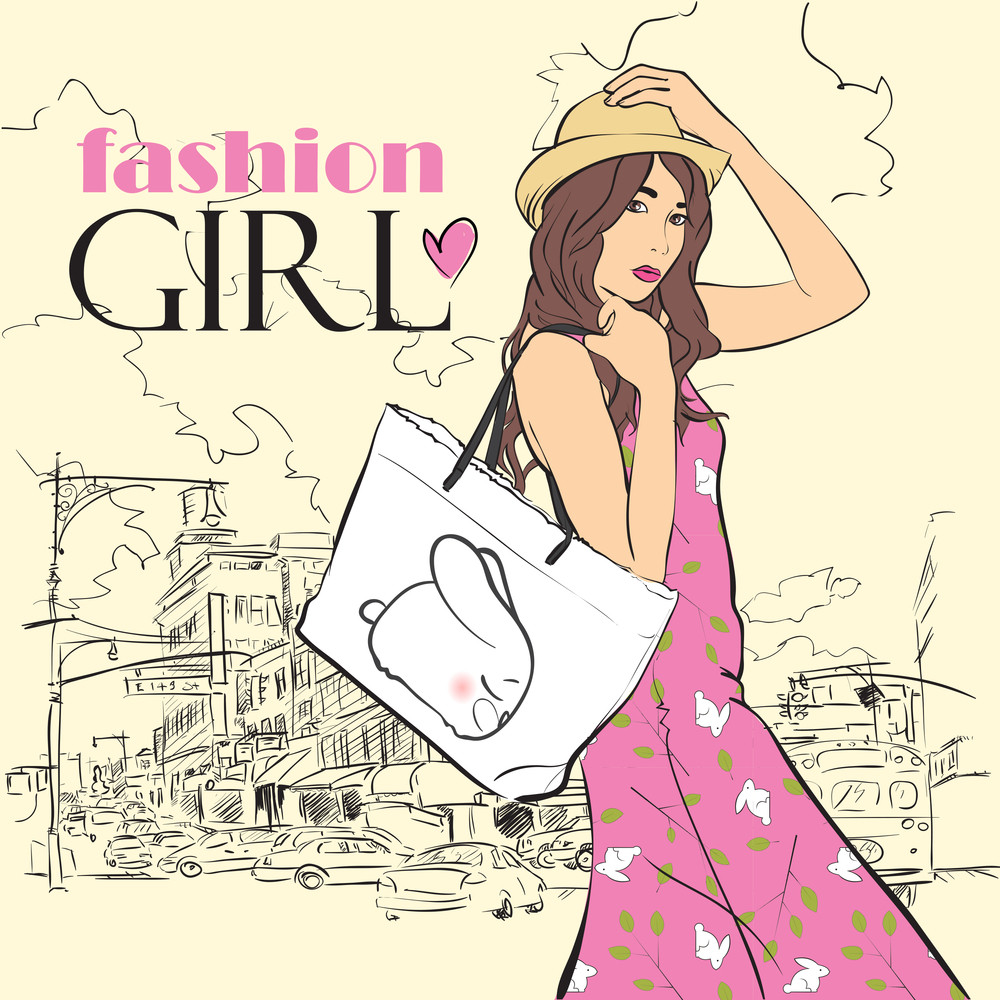Fashion Girl With Bag In Sketch Style On A City-background.