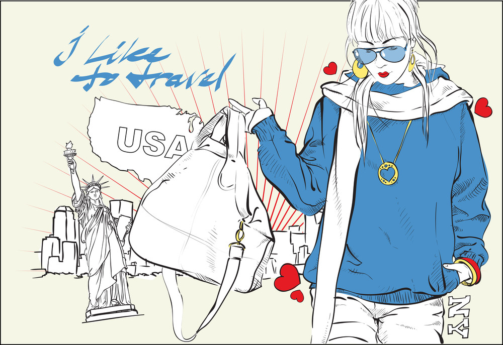 Fashion Girl With Bag In Sketch-style On A Usa-background. Vector Illustration.