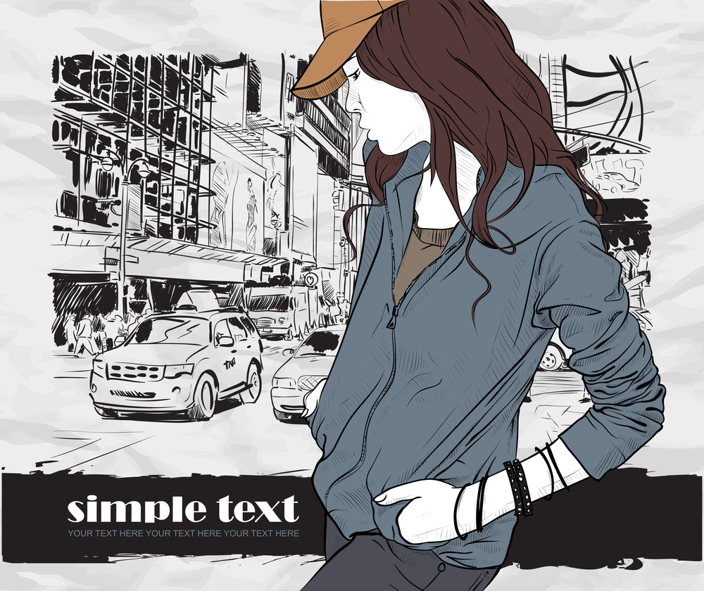 Fashion Girl With Cap In Sketch-style On A City-background. Vector Illustration.