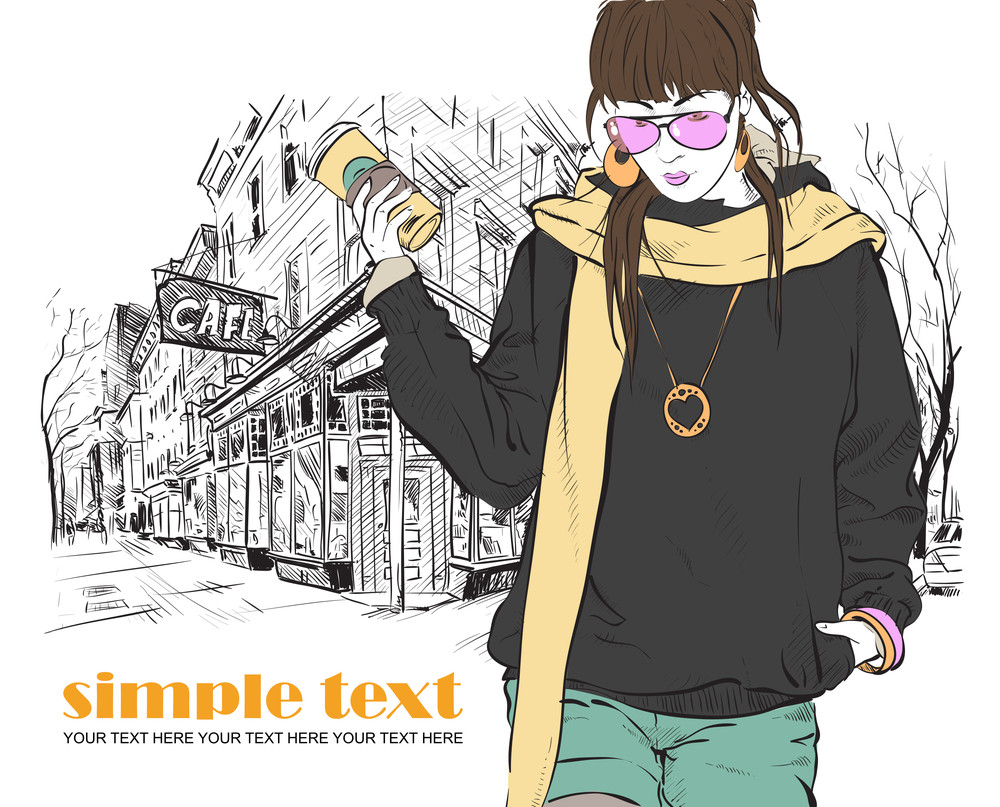 Fashion Girl With Coffee-cup In Sketch Style On A Street-cafe Background. Vector Illustrator.