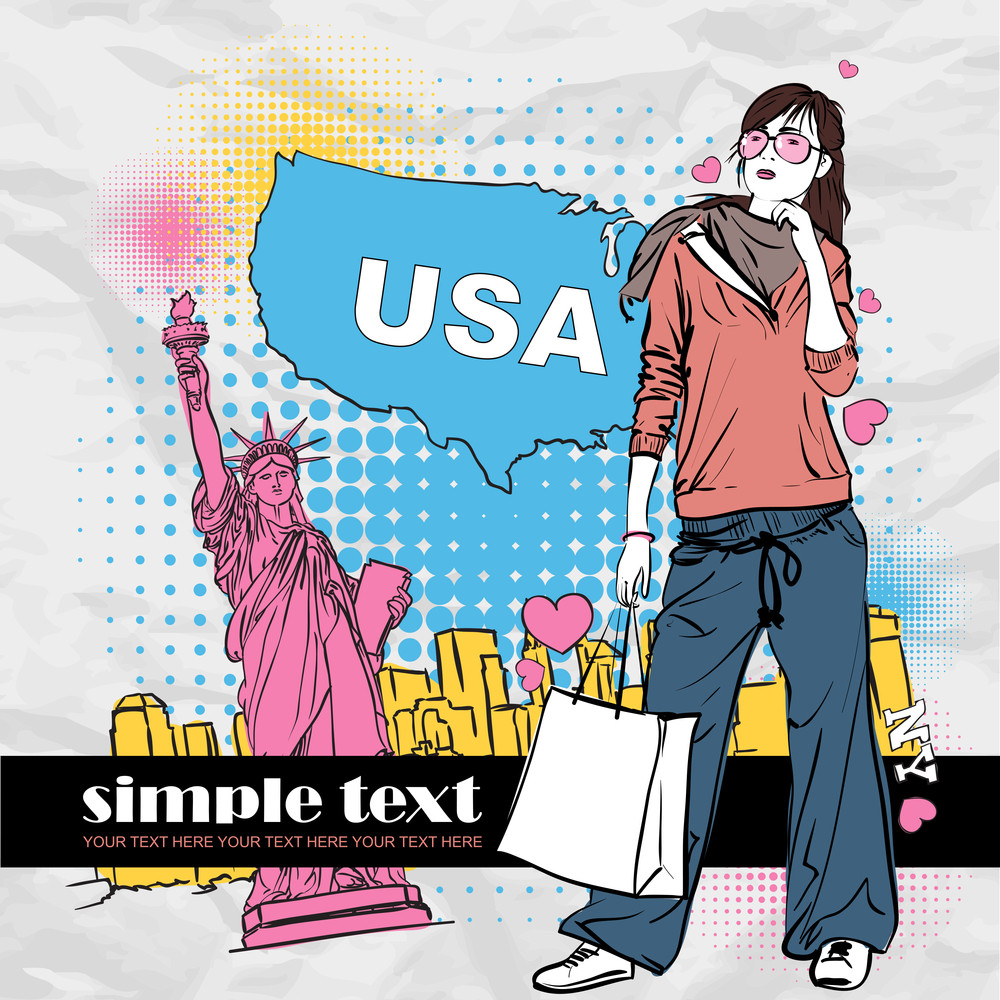 Fashion Girl With Shopping Bag In Sketch-style On A Usa-background. Vector Illustration.