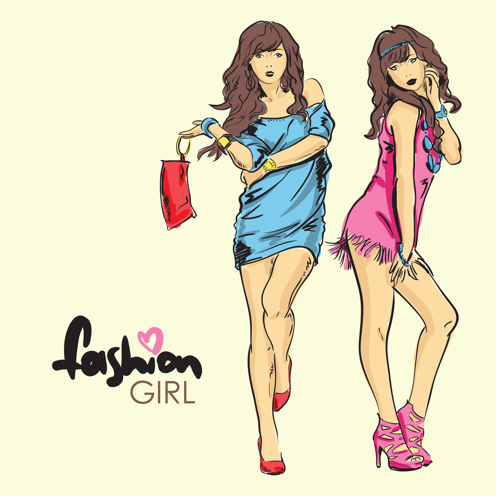 Fashion Girls In Sketch-style. Vector Illustration.