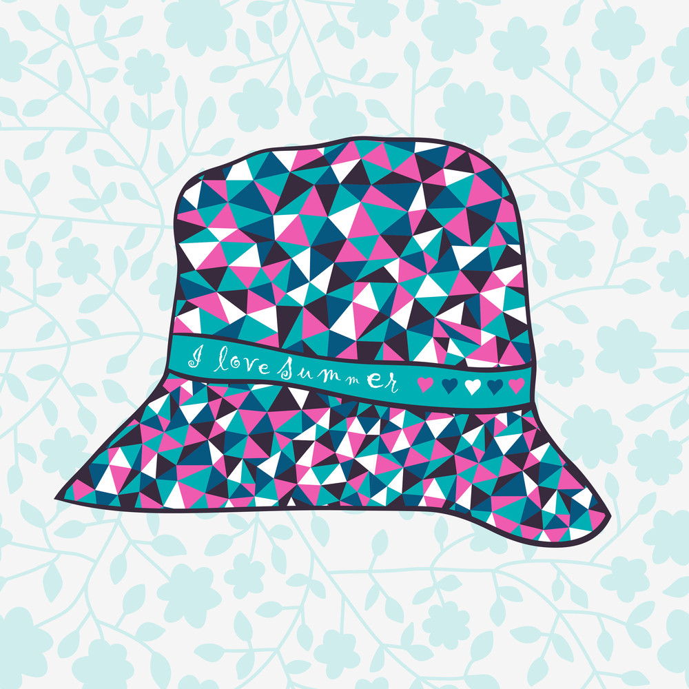 Fashion Hat Made Of Triangles Fabric