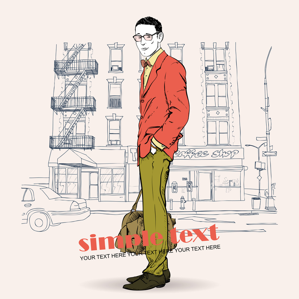 Fashion Men With Bag And Glasses On A Street-background. Vector Illustration.