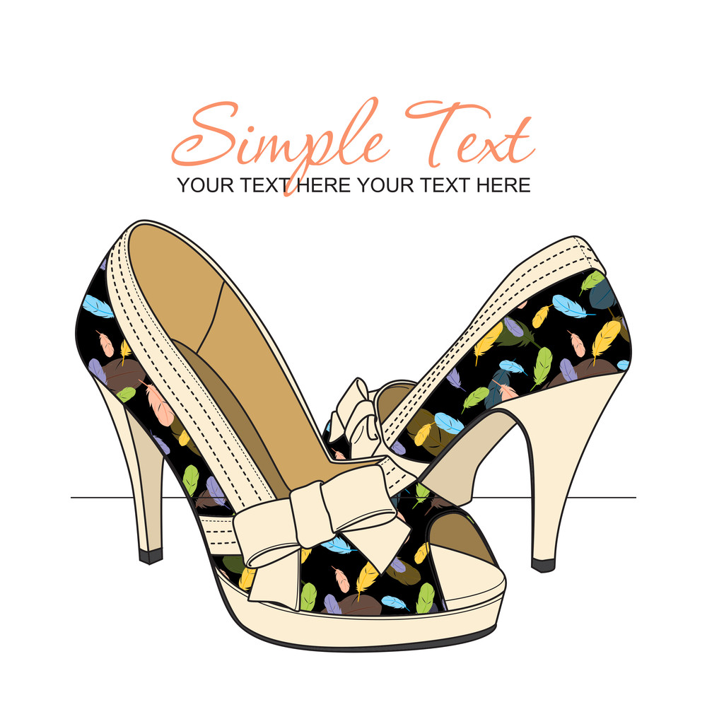 Fashion Shoes With Feather-print. Vector Illustration.