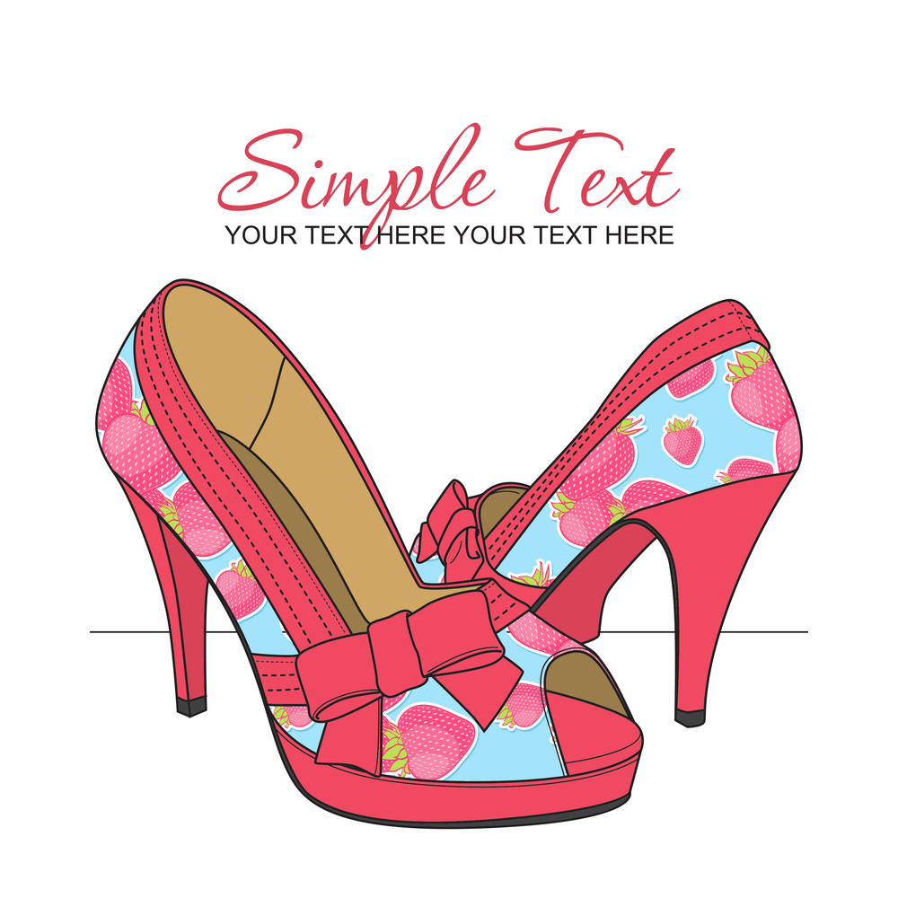 Fashion Shoes With Strawberry-print. Vector Illustration.