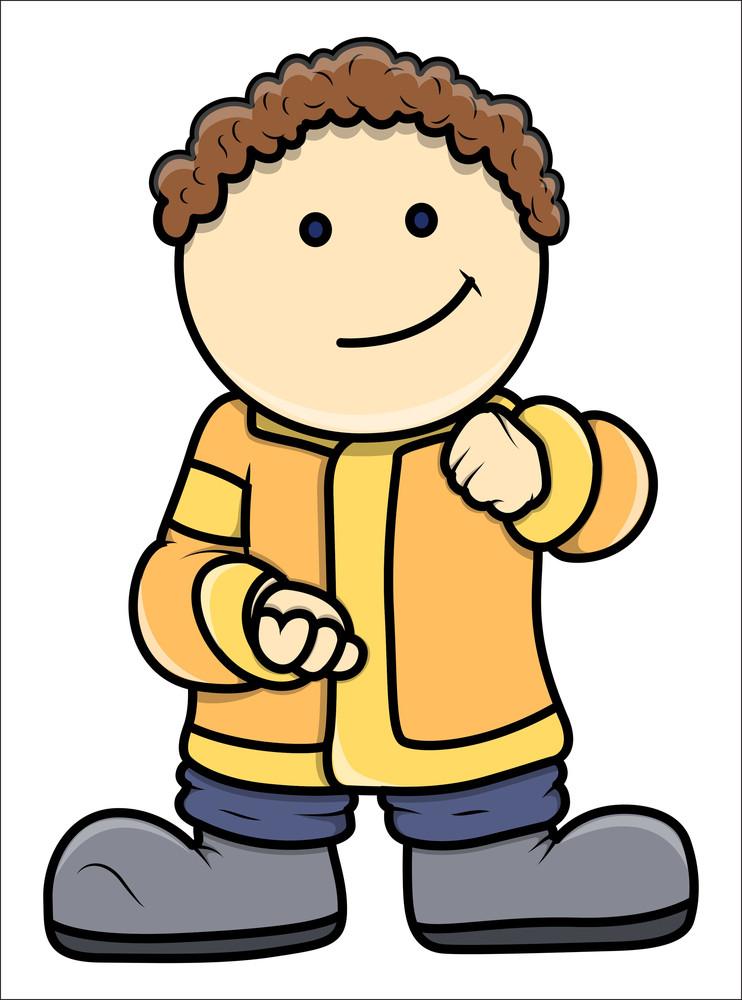 Fat Cartoon Kid - Vector Cartoon Illustration