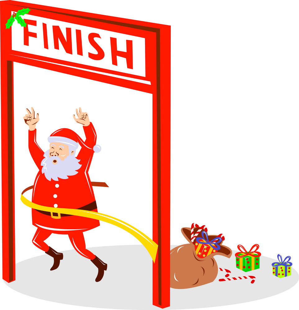Father Christmas Santa Claus Finishing Race