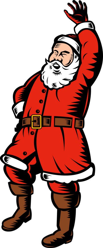 Father Christmas Santa Claus Waving Hello Standing