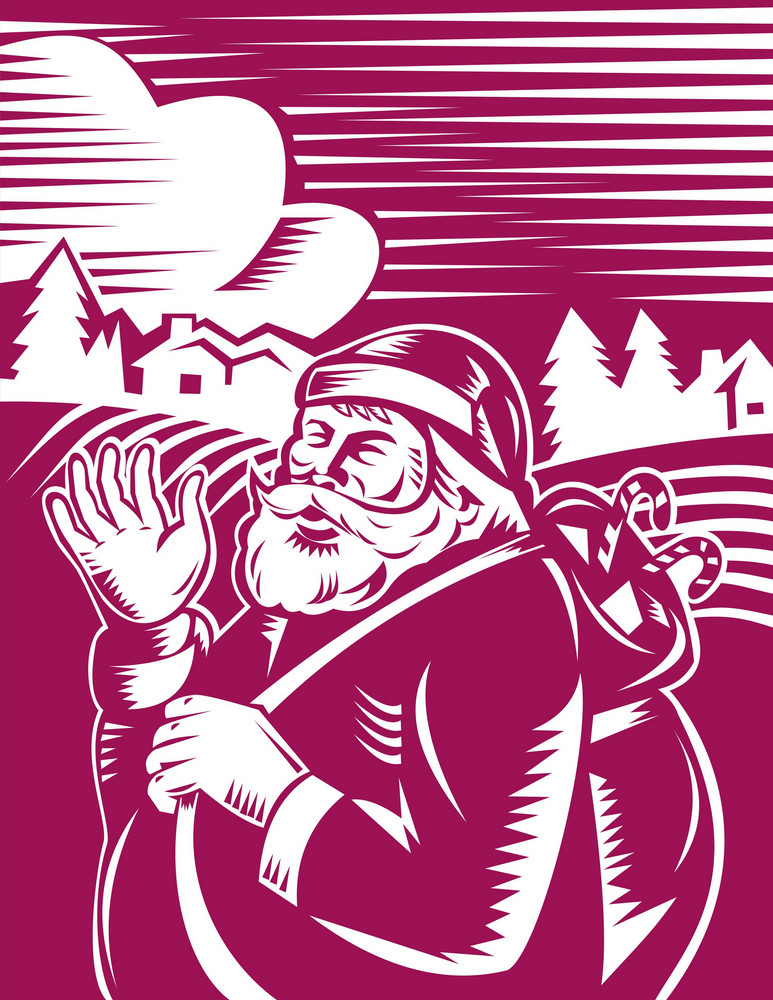Father Christmas Santa Claus Waving Hello