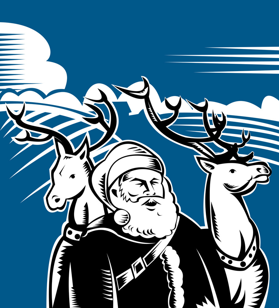 Father Christmas Santa Claus With Reindeer