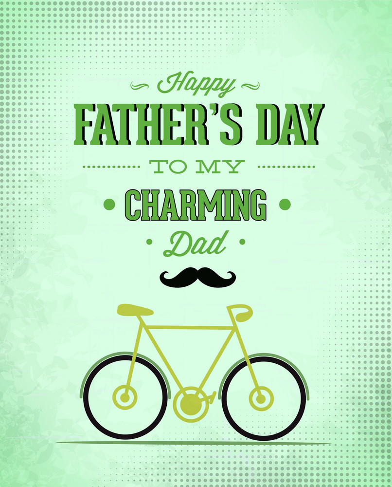 Father's Day Vector Illustration With Vintage Retro Type Font, Bike