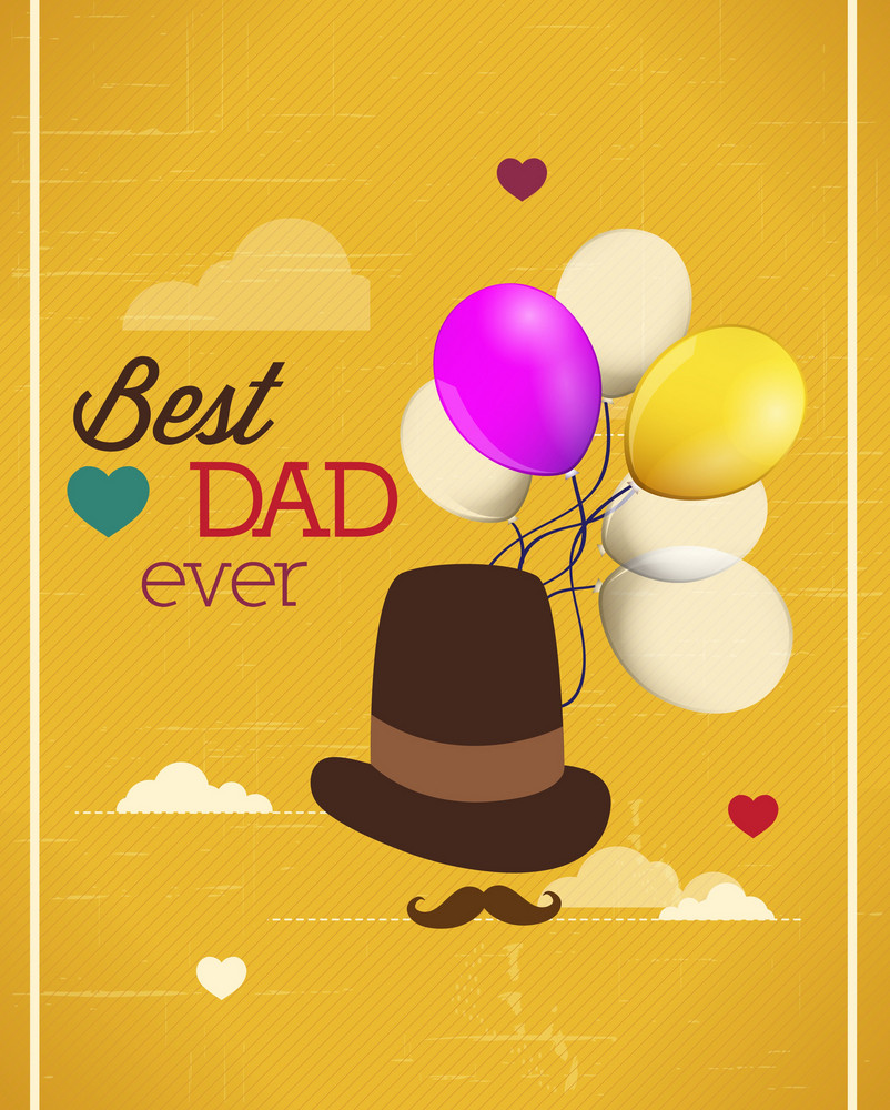 Father's Day Vector Illustration With Vintage Retro Type Font, Hat, Balloons, Clouds
