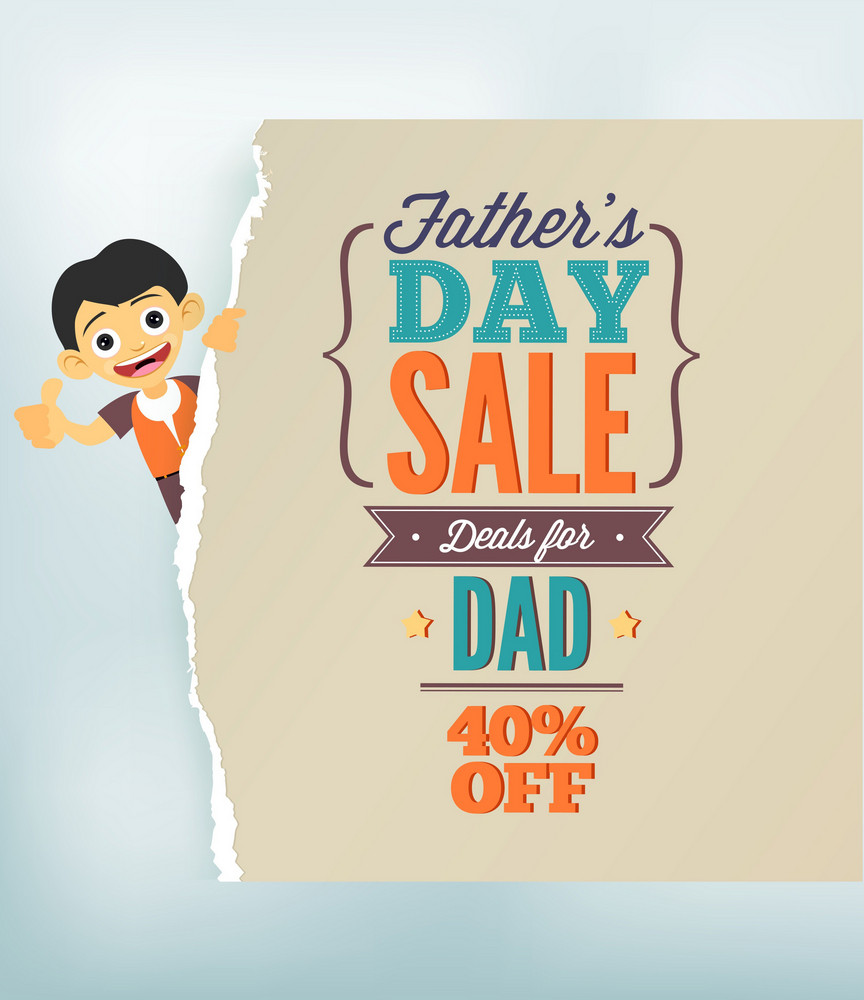 Father's Day Vector Illustration With Vintage Retro Type Font, Kid And Torn Paper