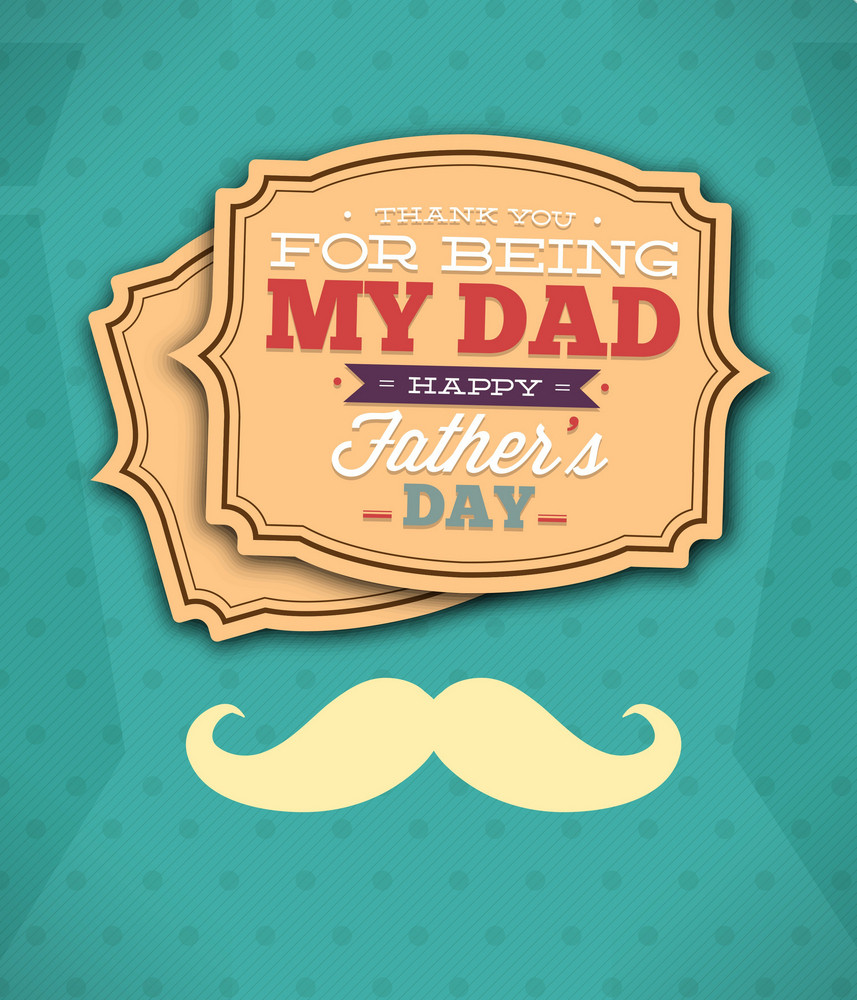 Father's Day Vector Illustration With Vintage Retro Type Font, Moustache,frame,