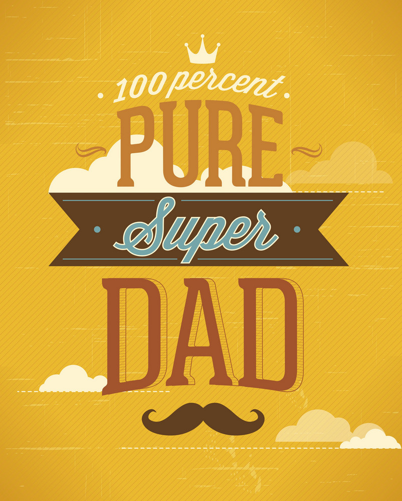Father's Day Vector Illustration With Vintage Retro Type Font, Ribbon, Clouds, Moustache