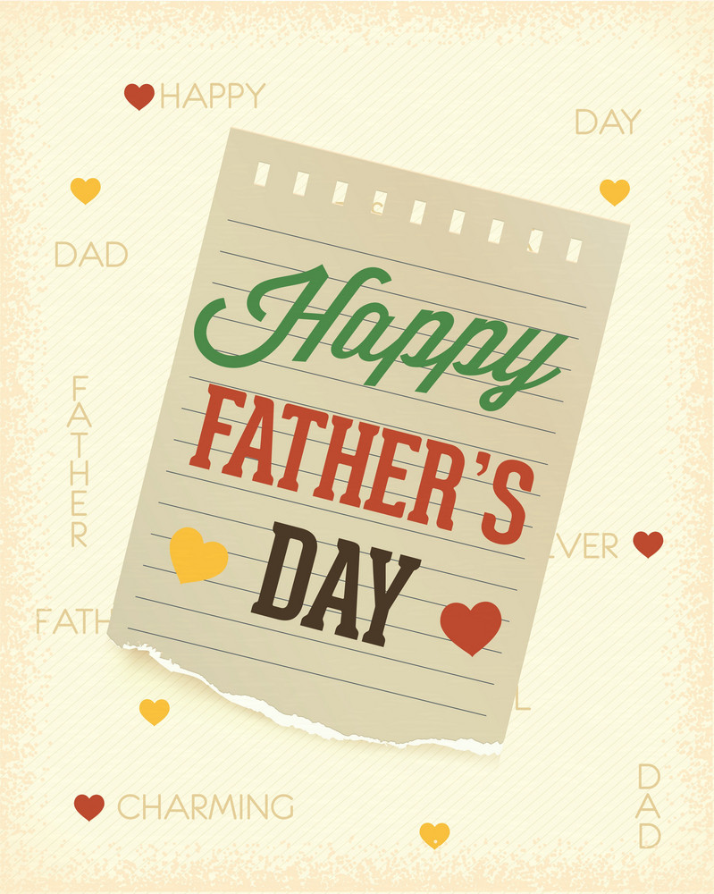 Father's Day Vector Illustration With Vintage Retro Type Font, Torn Paper