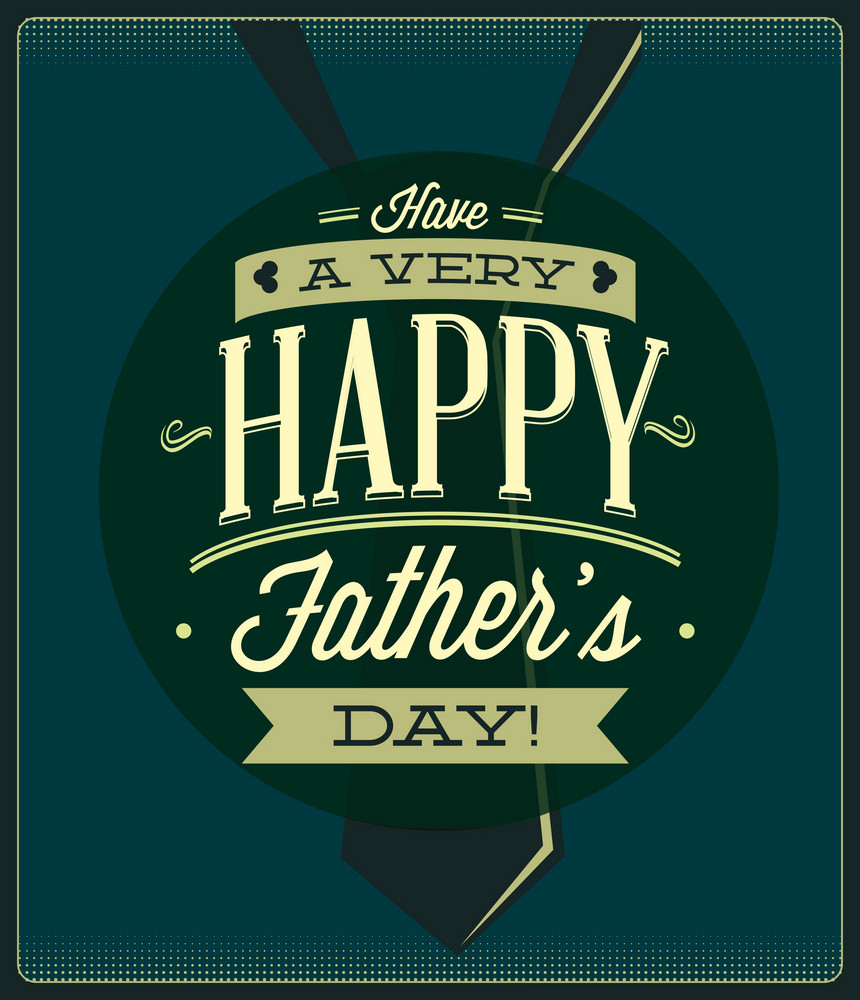 Father's Day Vector Illustration With Vintage Retro Type Font,