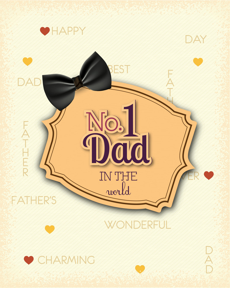 Father's Day Vector Illustration With Vintage Retro Type Font,bow, Frame
