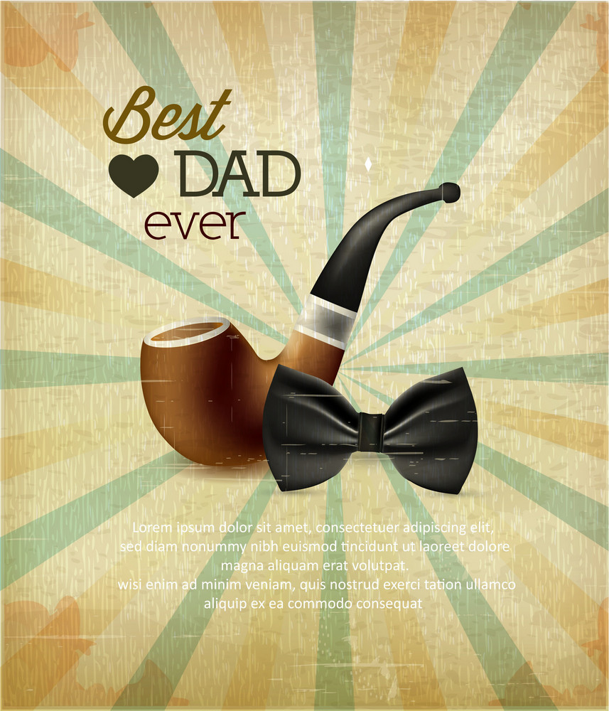Father's Day Vector Illustration With Vintage Retro Type Font,flowers, Bow And Pipe