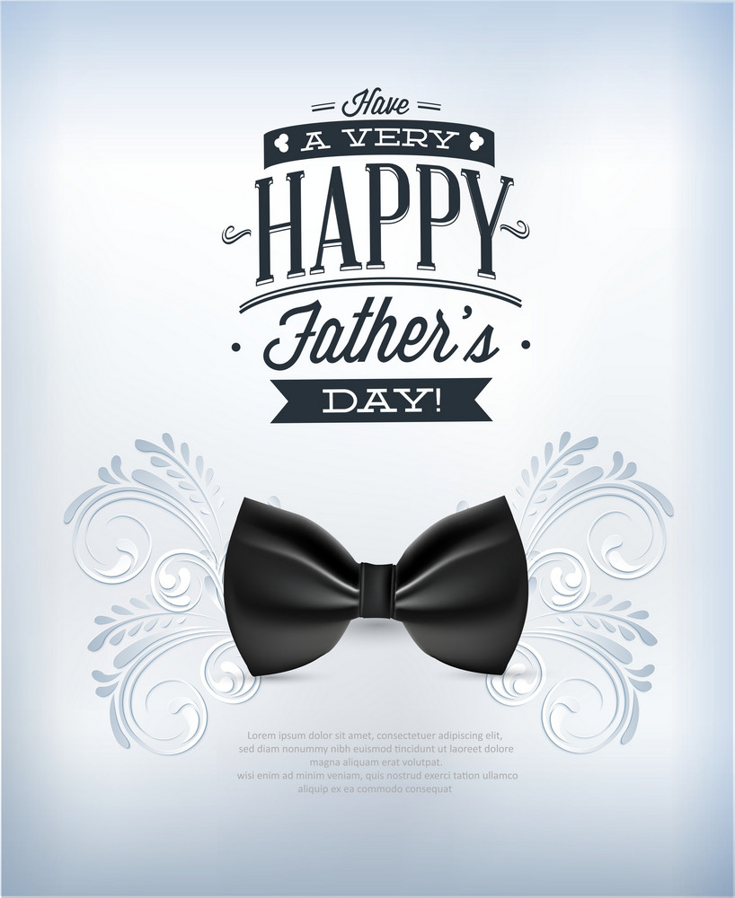 Father's Day Vector Illustration With Vintage Retro Type Font,flowers, Bow