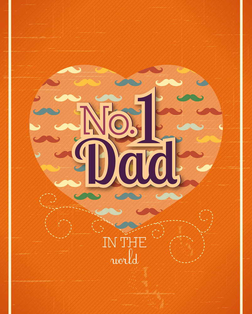 Father's Day Vector Illustration With Vintage Retro Type Font,heart
