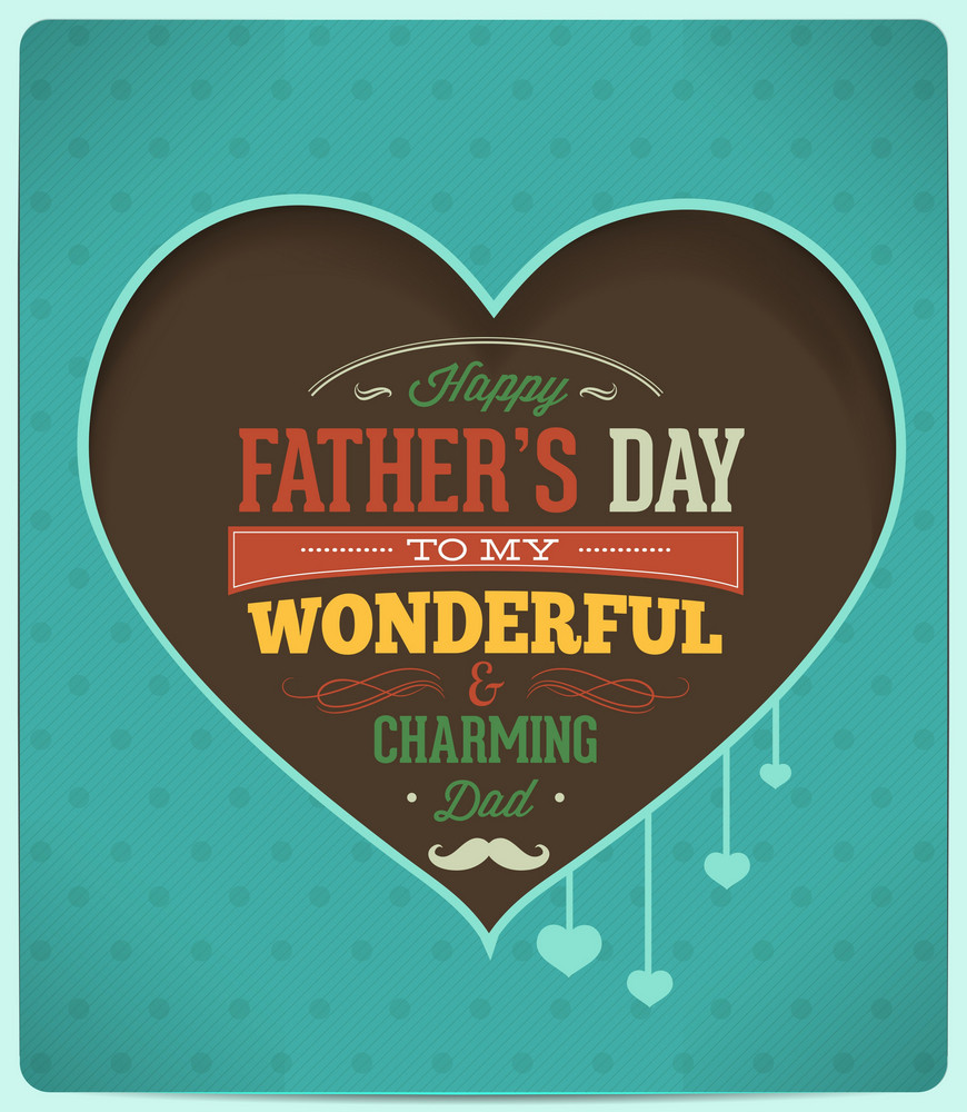 Father's Day Vector Illustration With Vintage Retro Type Font,ribbon, Heart