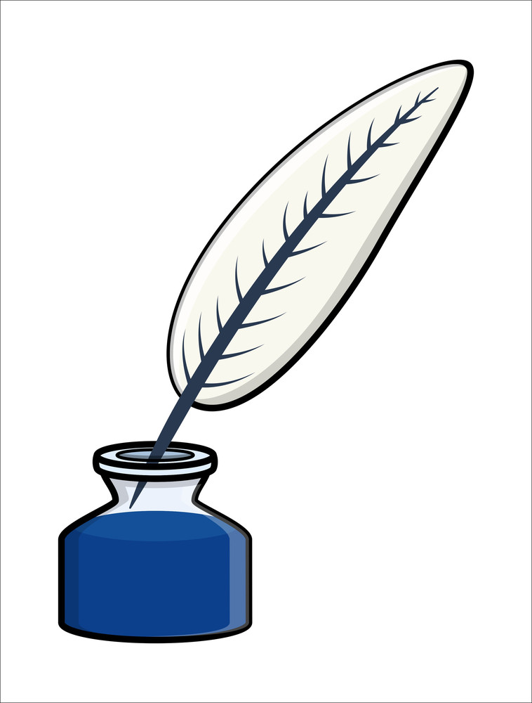 Feather Inkpot - Cartoon Vector Illustration