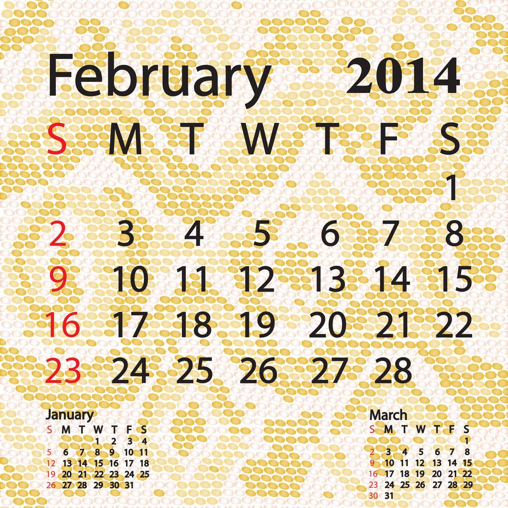February 2014 Calendar Albino Snake Skin