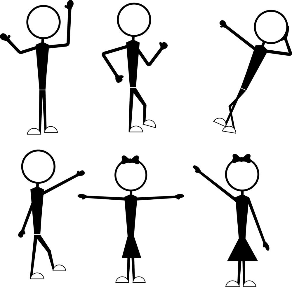 Female And Male Stick Figures Actions
