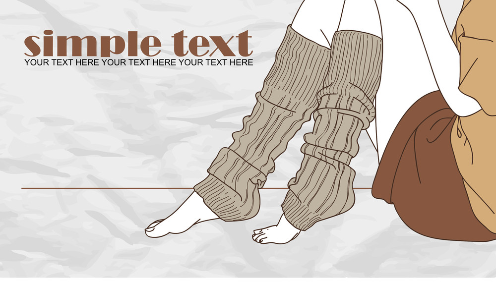 Female Feet In Gray Golfs. Hand-draw Vector Illustration.