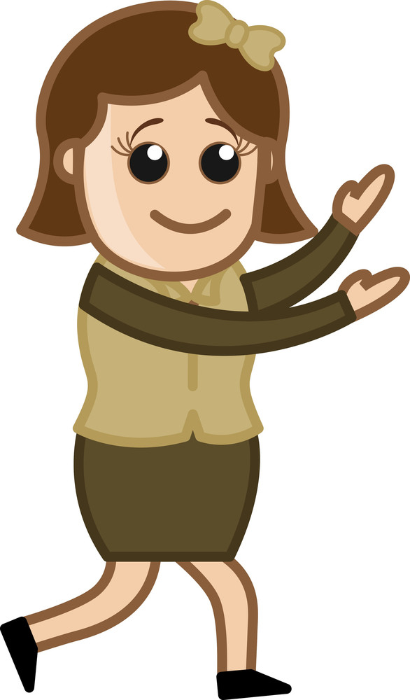 Female In Office - Business Cartoon Character Vector