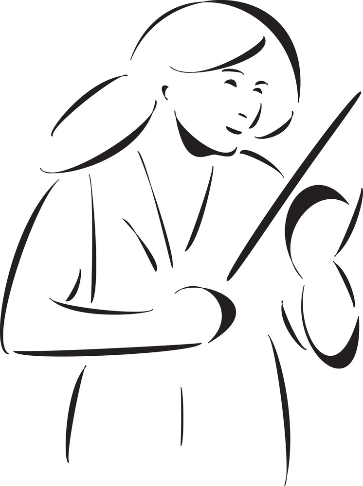 Female Music Conductor With Baton.