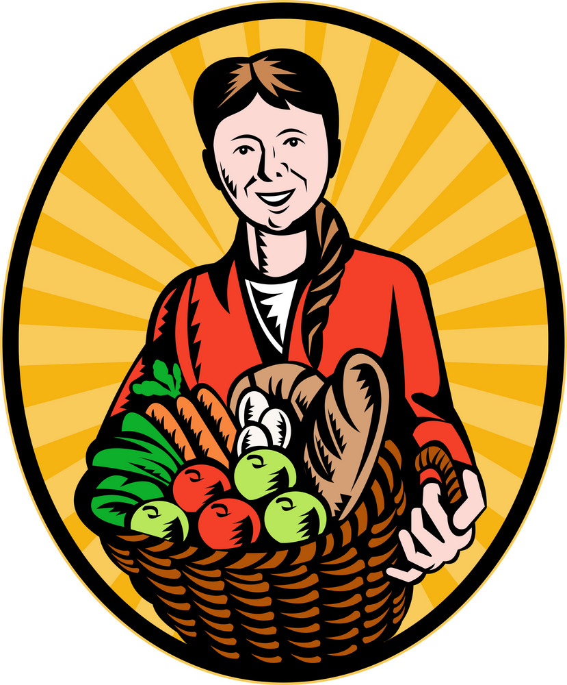 Female Organic Farmer Crop Harvest Basket