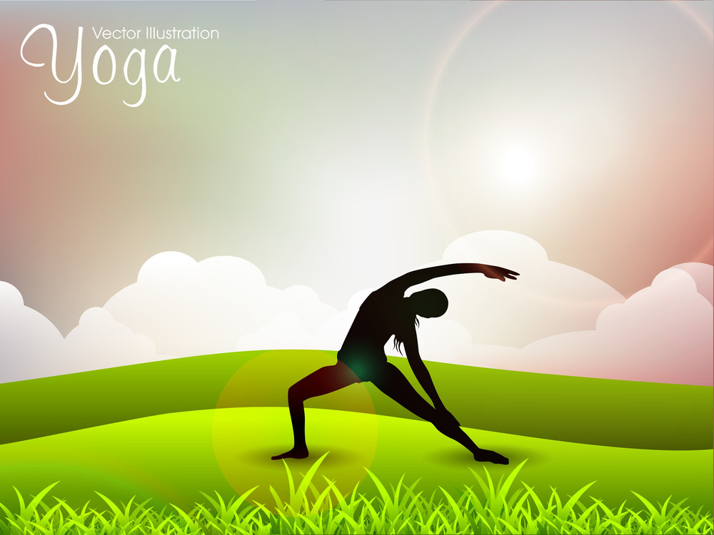 Female Silhouette In Yoga Posture On Nature Background