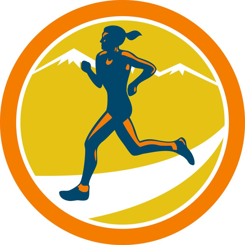 Female Triathlete Runner Running Retro
