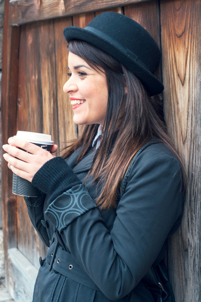 Female With Cup Of Coffee
