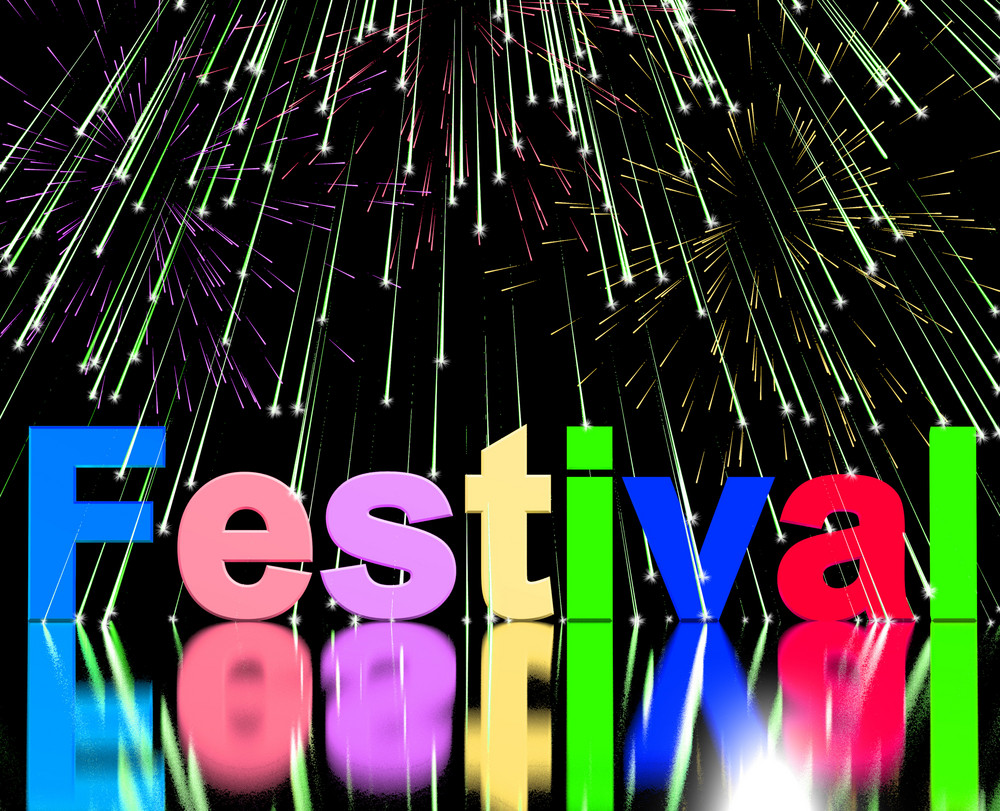Festival Word With Fireworks Showing Entertainment Event Or Party