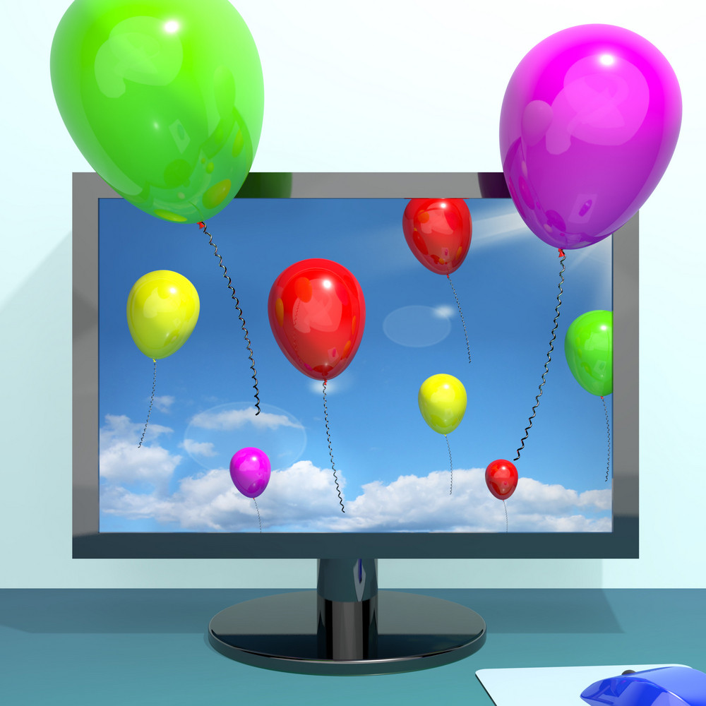 Festive Colorful Balloons In The Sky And Coming Out Of Screen For Online Celebration