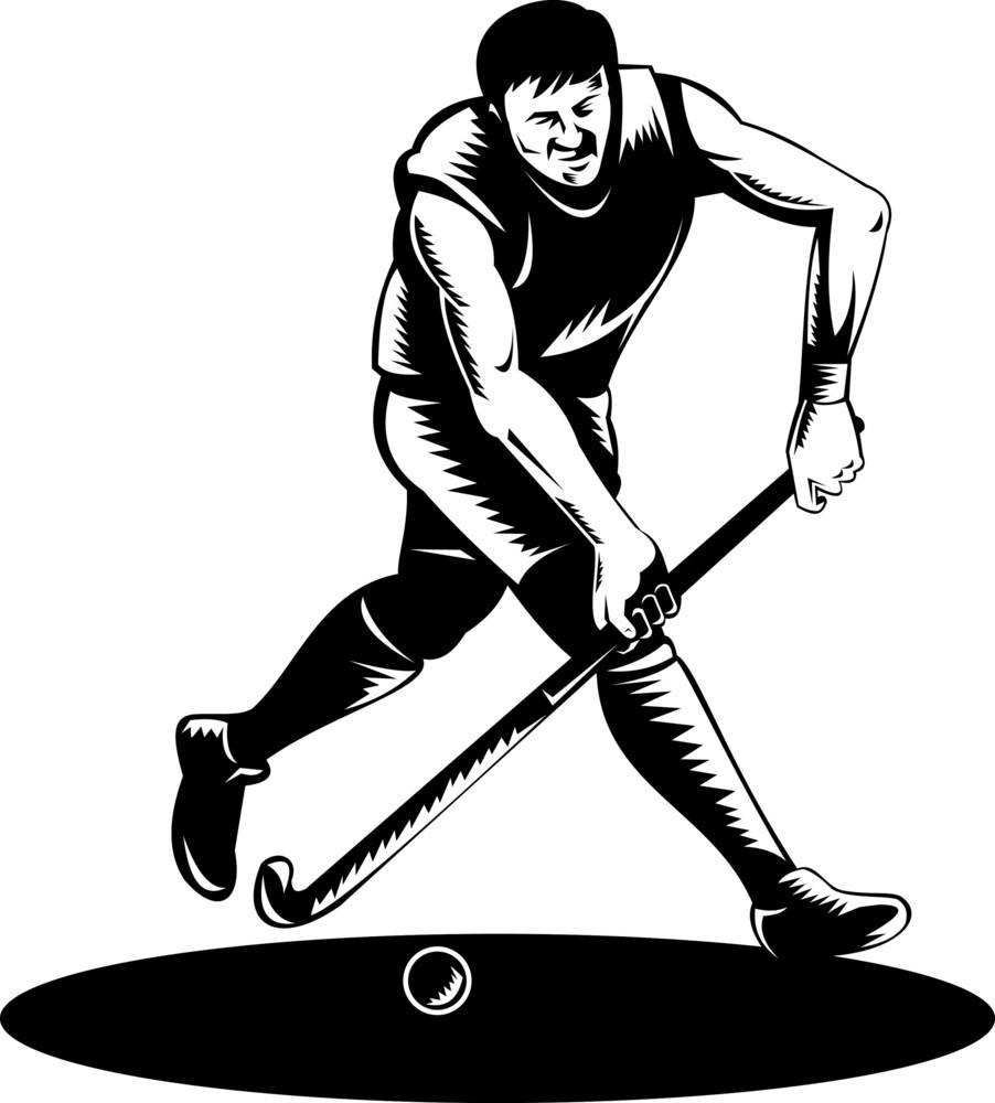 Field Hockey Player Running With Stick Retro