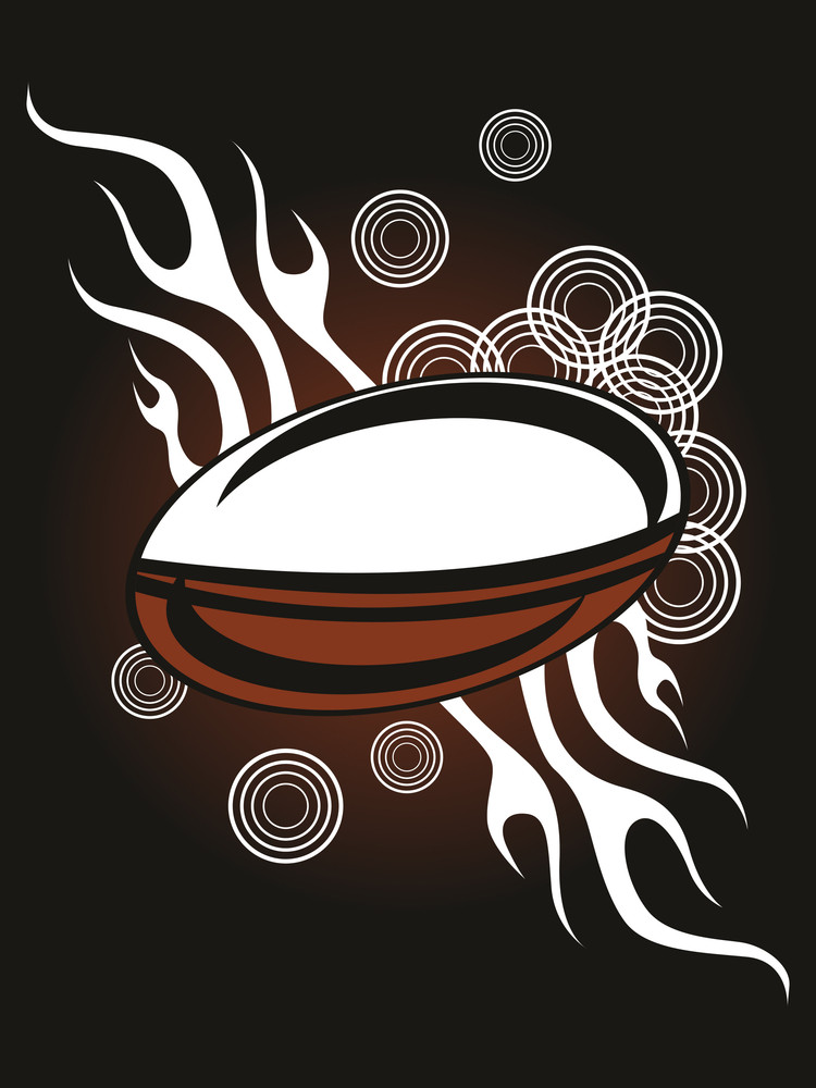 Fiery Background With Rugby Ball