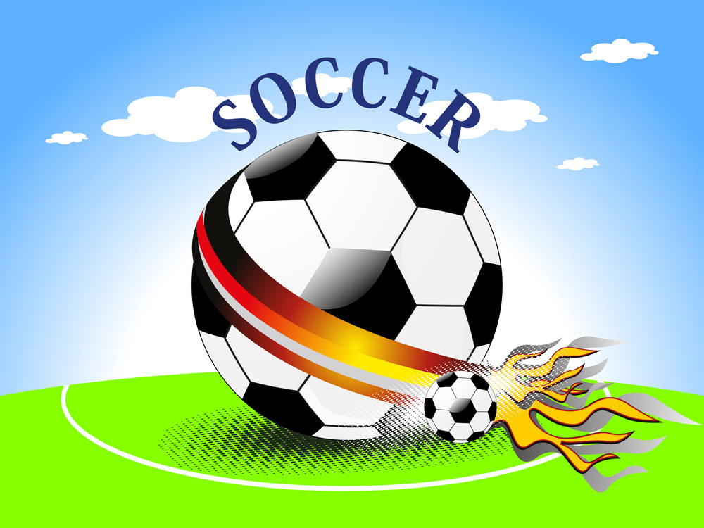 Fiery Football On Outdoor Background