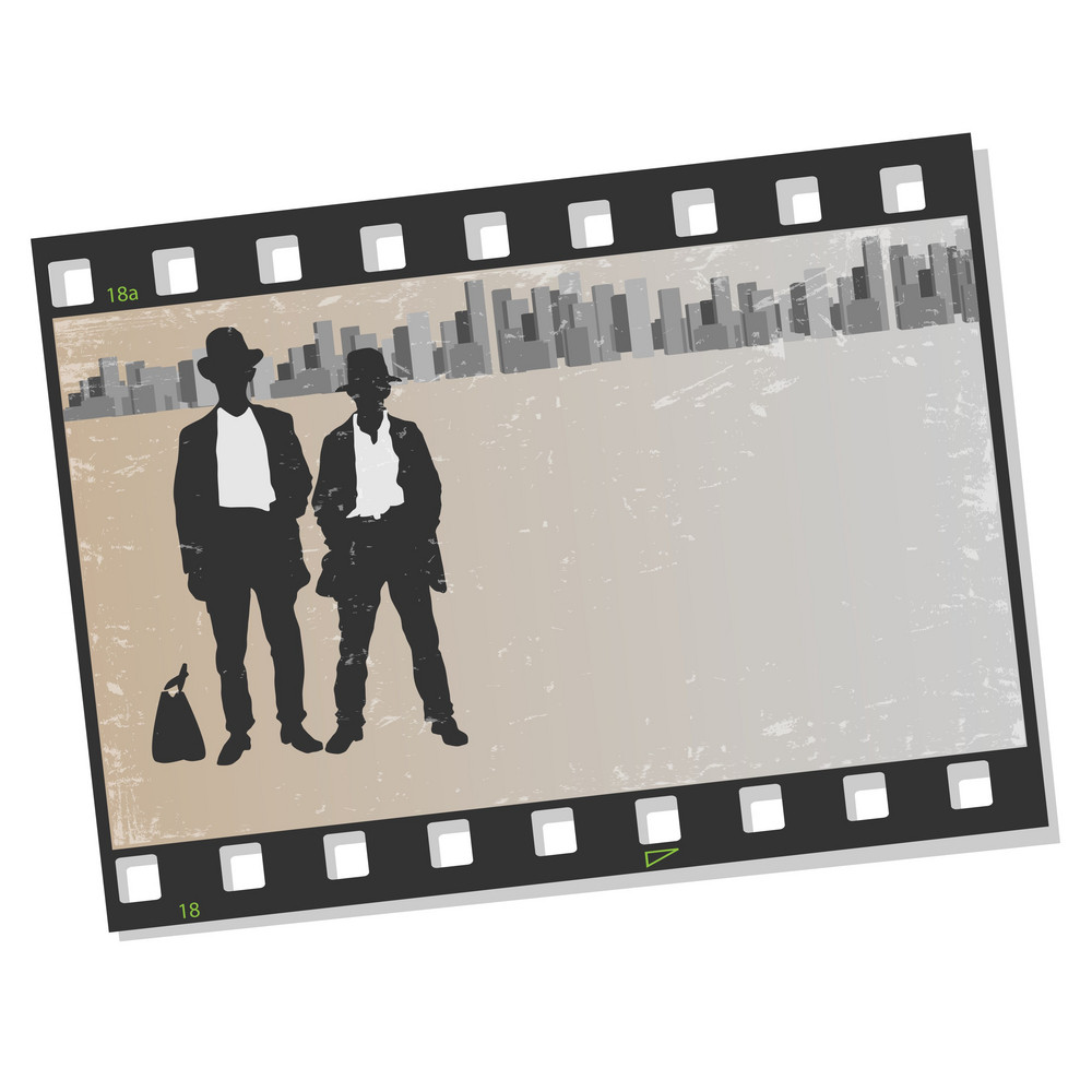 Film Frame With Silhouettes Gangsters