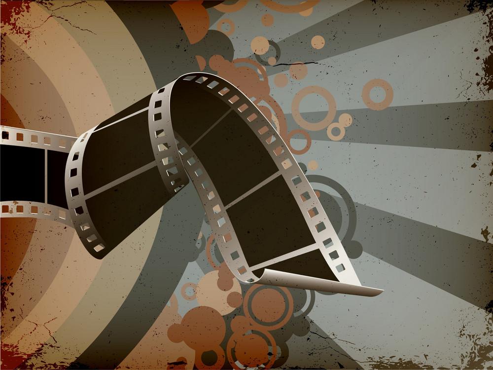 Film Strip With Grunge Background Vector Illustration
