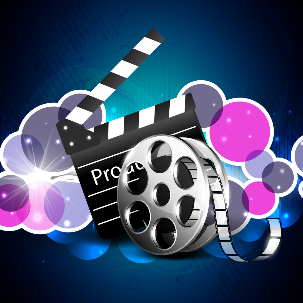 Film stripe or film reel on colorful background