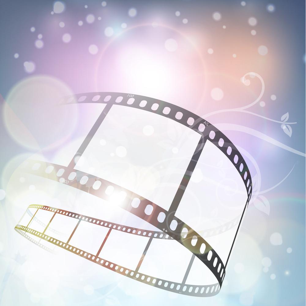 Film Stripe Or Film Reel On Floral Pattern Background