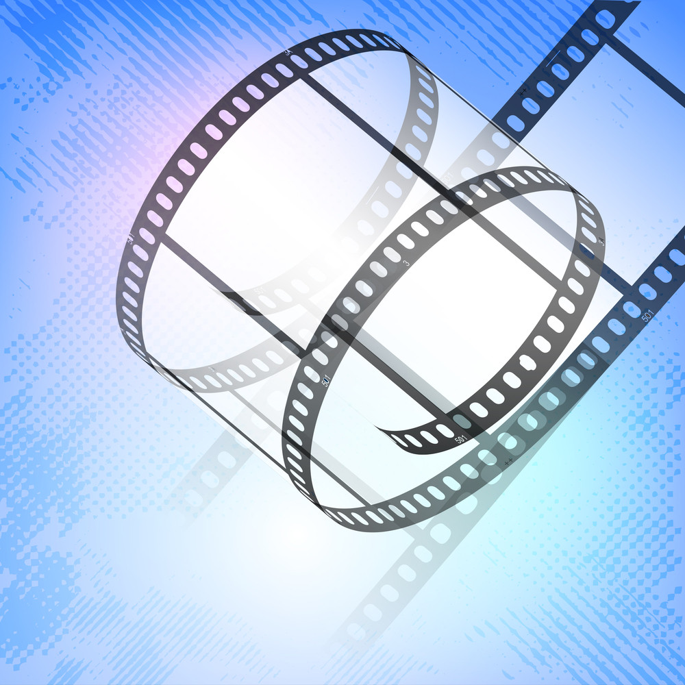 Film Stripe Or Film Reel On Grungy Background.